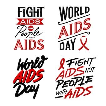 Wereld aids dag belettering citaten set