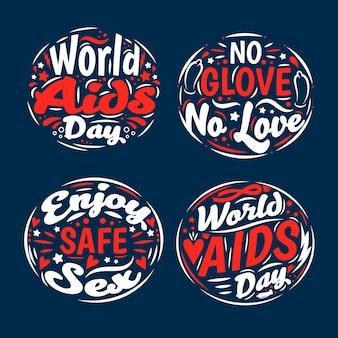 Wereld aids dag belettering ontwerp