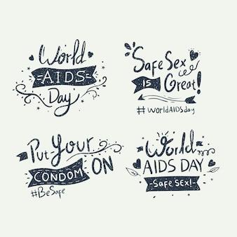 Wereld aids dag bewustzijn belettering