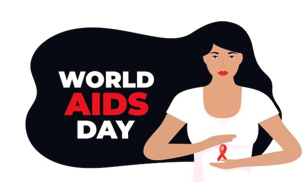 Wereld aids dag. een meisje met lang zwart haar dat een rood satijnen lint vasthoudt.
