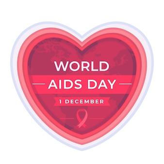 Wereld aids dag hart in papieren stijl