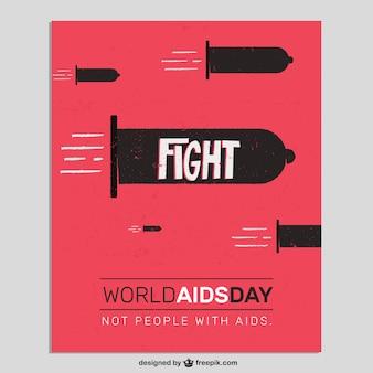Wereld aids dag kaart met condooms als kogels