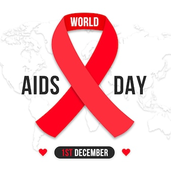 Wereld aids dag lint in papieren stijl