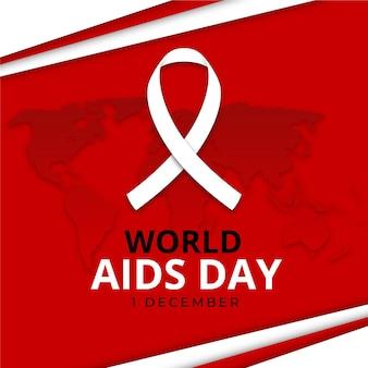 Wereld aids dag lint op aarde kaart in papieren stijl