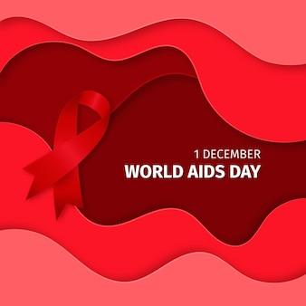 Wereld aids dag lint op golvende achtergrond in papieren stijl