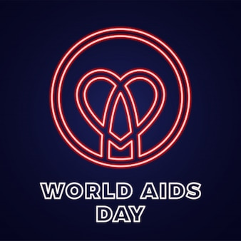 Wereld aidsdag 1 december pictogram voor hiv-infectie met tekst.