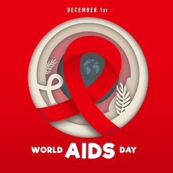 Wereld aidsdag-evenement in papieren stijl illustratie