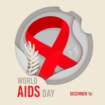 Wereld aidsdag-evenement in papieren stijl
