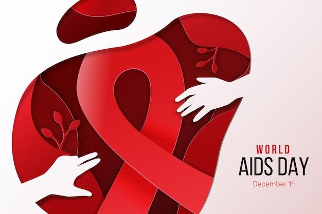 Wereld aidsdag in papieren stijl
