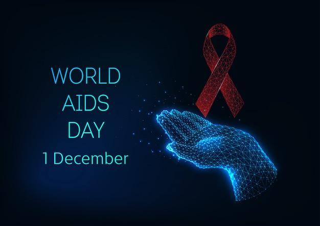 Wereld aidsdag spandoeksjabloon met rode gloeiende lage veelhoekige lintboog en hand vasthouden