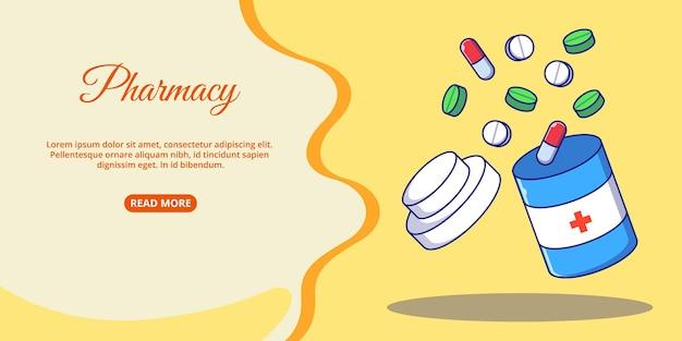 Wereld apotheker dag banner geopende fles medicijnen platte cartoon pictogram illustratie.
