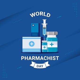 Wereld apotheker dag banner viering vectorillustratie