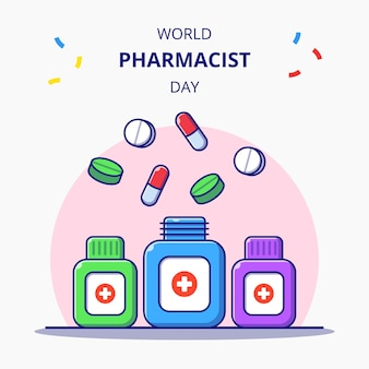 Wereld apotheker dag drug flessen vlakke afbeelding. apotheek en geneeskunde pictogram concept geïsoleerd.