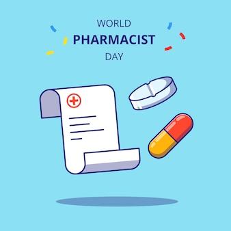 Wereld apotheker dag platte banner illustratie. apotheek en geneeskunde pictogram concept geïsoleerd.