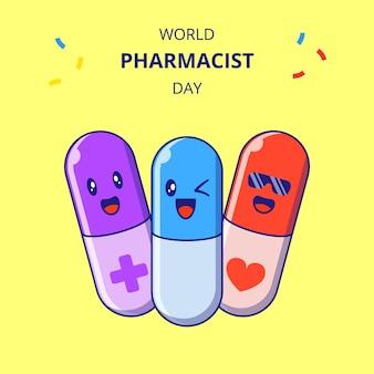 Wereld apotheker dag schattige capsules stripfiguren. set van drugs mascotte.
