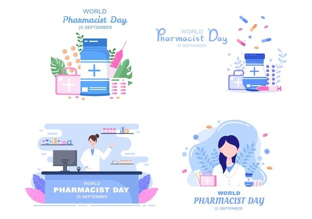 Wereld apothekers dag vectorillustratie