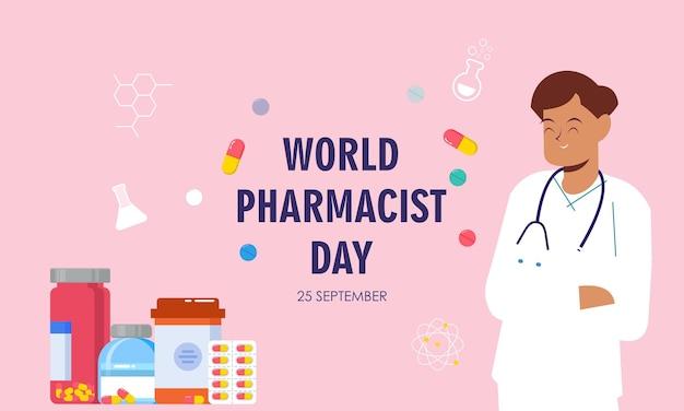 Wereld apothekersdag. arts en pillen logo concept
