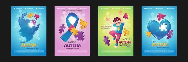 Wereld autisme bewustzijn dag posters. set van folders met cartoon illustraties met puzzelstukjes.