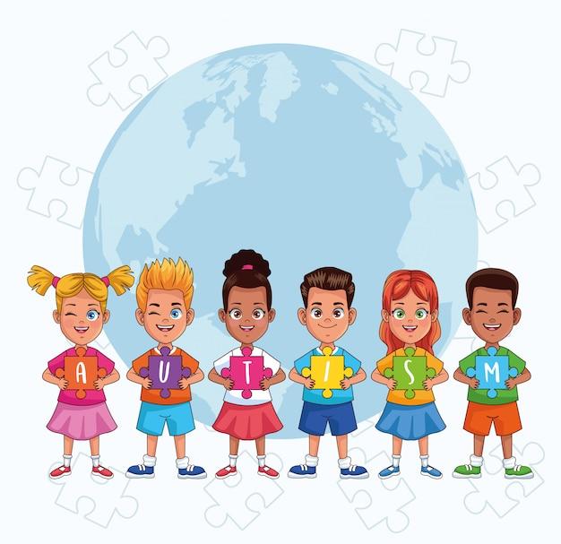 Wereld autisme dag kinderen met wereld planeet en puzzel stukjes vector illustratie ontwerp