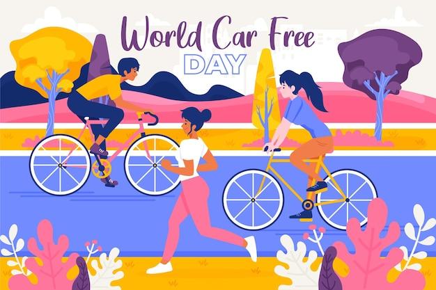 Wereld auto vrije dag handgetekende