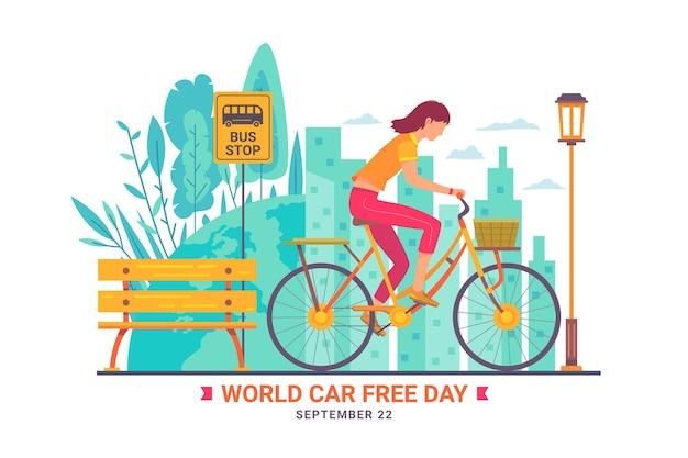 Wereld autoloze dag met vrouw op fiets