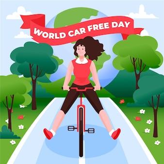 Wereld autovrije dag handgetekende thema