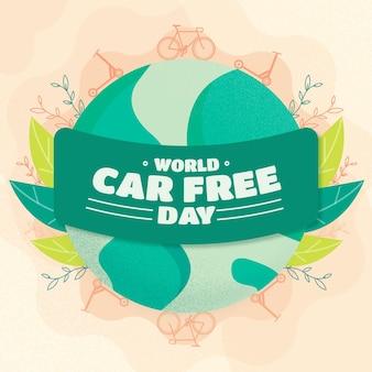 Wereld autovrije dag met aarde