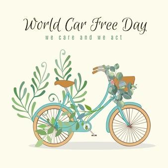 Wereld autovrije dag met fiets en bladeren