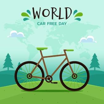 Wereld autovrije dag met fiets