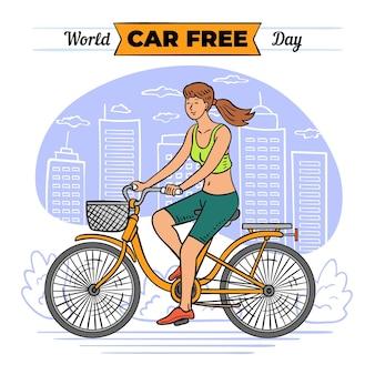 Wereld autovrije dag met vrouw op de fiets