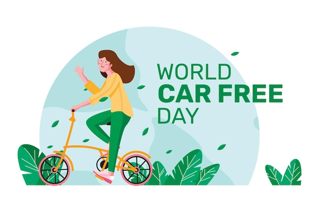 Wereld autovrije dagkaart met vrouw die op een fiets rijdt