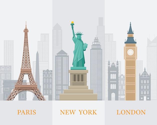 Wereld bekende oriëntatiepunten illustratie