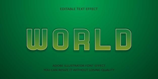 Wereld bewerkbare tekst font effect