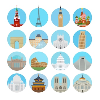 Wereld bezienswaardigheden pictogrammen in moderne vlakke stijl