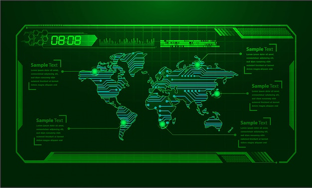 Wereld binaire printplaat toekomstige technologie, blauwe hud cyber beveiligingsachtergrond,
