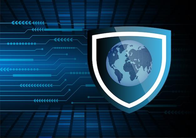 Wereld binaire printplaat toekomstige technologie, blauwe hud cyber security concept achtergrond