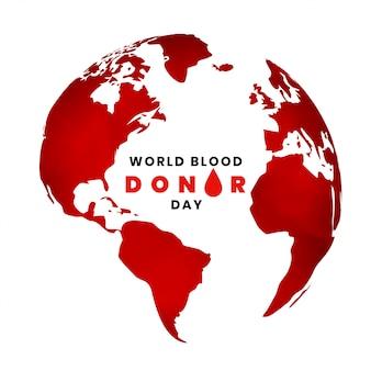Wereld bloed donor dag achtergrond met kaart van de aarde