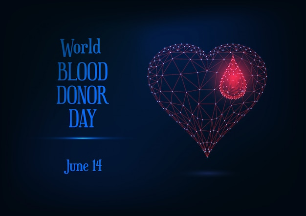 Wereld bloed donor dag banner met gloeiende laag poly bloeddruppel en hartsymbool en tekst