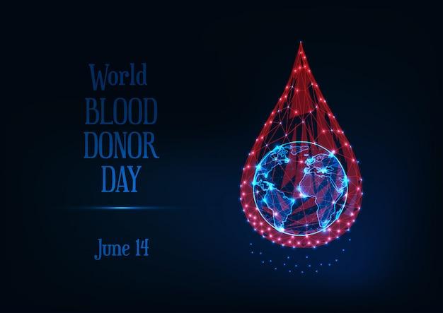 Wereld bloed donor dag met gloeiende laag poly bloeddruppel en planeet aarde globe en tekst.