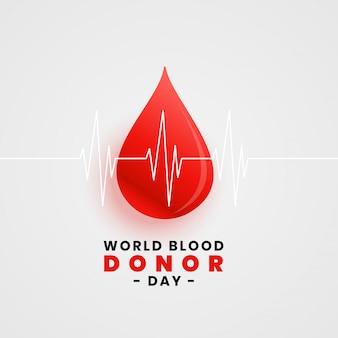 Wereld bloeddonatie dag concept poster met bloeddruppel