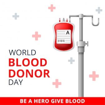Wereld bloeddonor dag, 14 juni illustratie van bloeddonatie conceptontwerp voor banner.