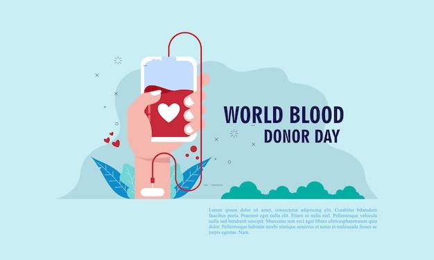 Wereld bloeddonor dag illustratie mensen bloeddonor illustratie