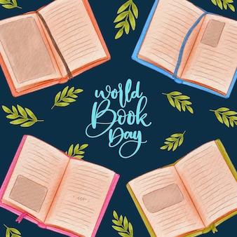 Wereld boek dag aquarel stijl