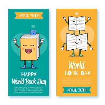 Wereld boek dag banner collectie sjabloon