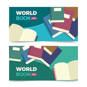 Wereld boek dag banner set