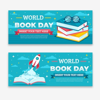 Wereld boek dag banners plat ontwerp