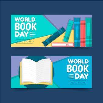 Wereld boek dag banners sjabloon concept