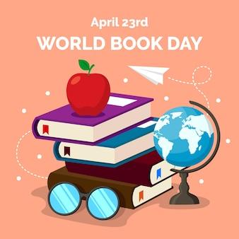 Wereld boek dag plat ontwerp