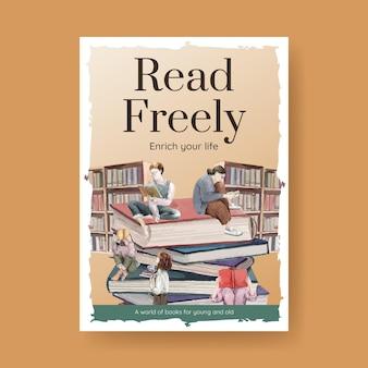 Wereld boek dag poster sjabloon