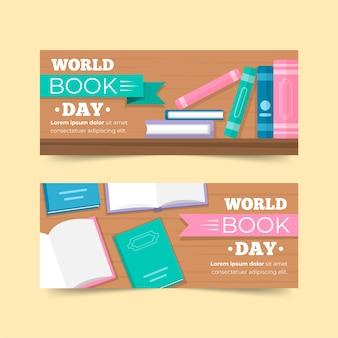 Wereld boek dag viering banners